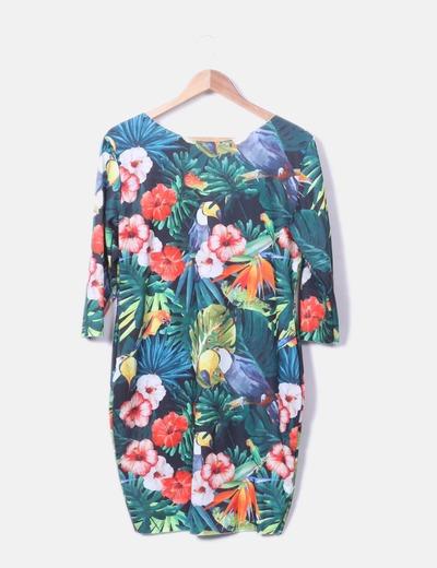 Vestido midi estampado tropical myhaiys