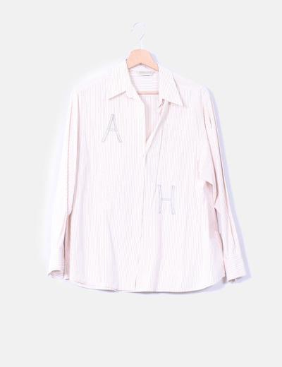 Camisa de rayas beige  Alfredo Vivó