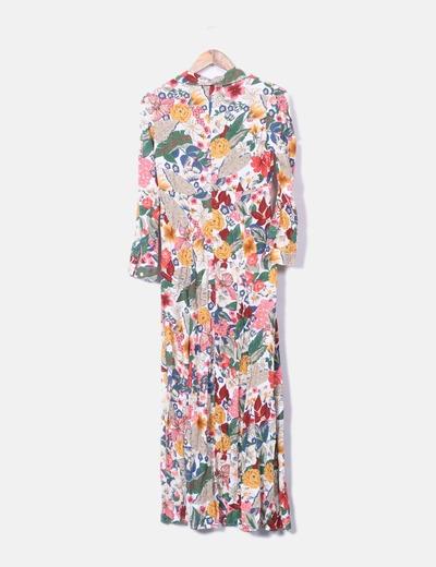 Maxi vestido floral con botones