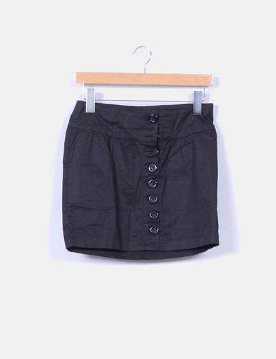 Falda mini negra abotonada NoName