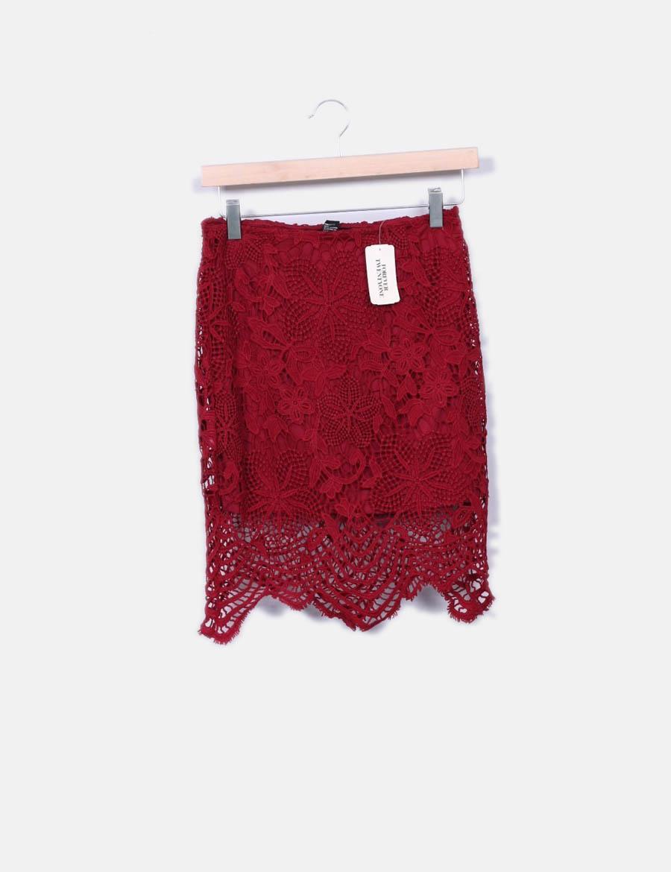 ba8141246 21 online baratas Forever burdeos Falda crochet Faldas wqxYH |bury ...