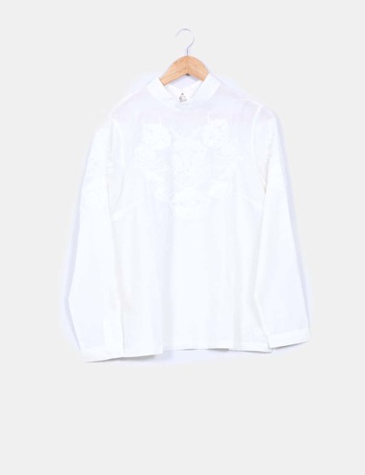 Camisa beige bordada manga larga Pedro del Hierro