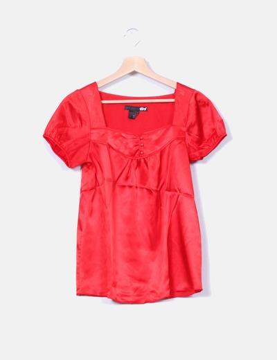 Blusa roja satinada Zara