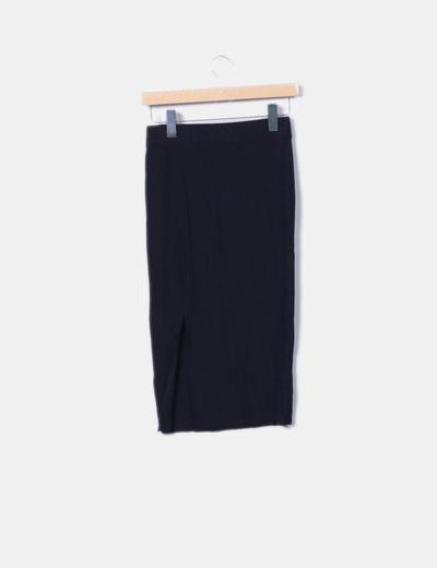 70cfd5418 Falda midi negra canalé