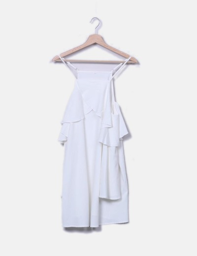 Robe blanche à volants NoName
