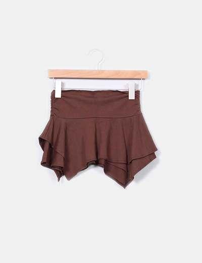 MIni falda marrón corte irregular  NoName