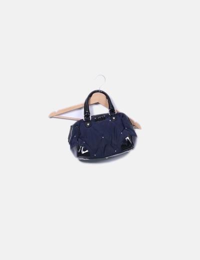 Bolso acolchado azul marino combinado con cuero CLIPS