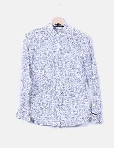 Camisa de seda print floral Massimo Dutti