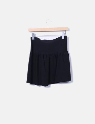 Falda tricot negro evase