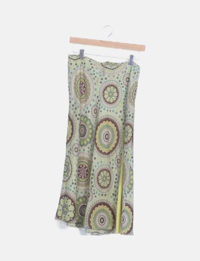 Maxi falda fluida verde estampada