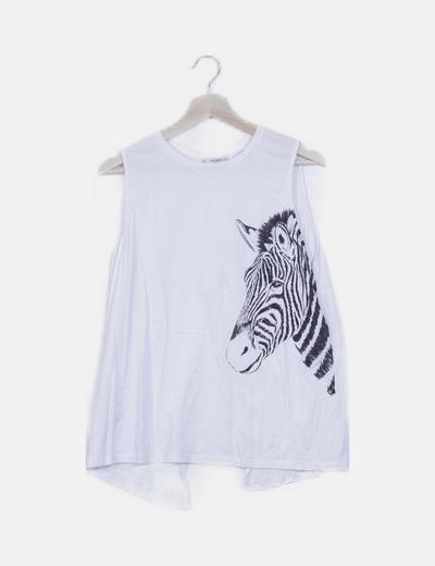 Camiseta estampado cebra espalda abierta