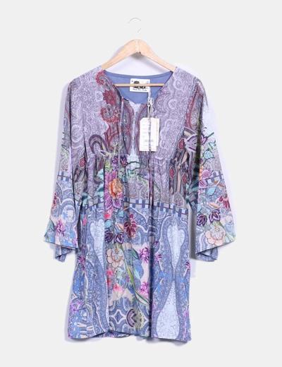 Vestido estampado cachemira multicolor Peace And Love