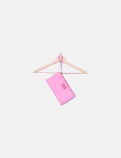 Bolso de mano rosa chapa metálica print