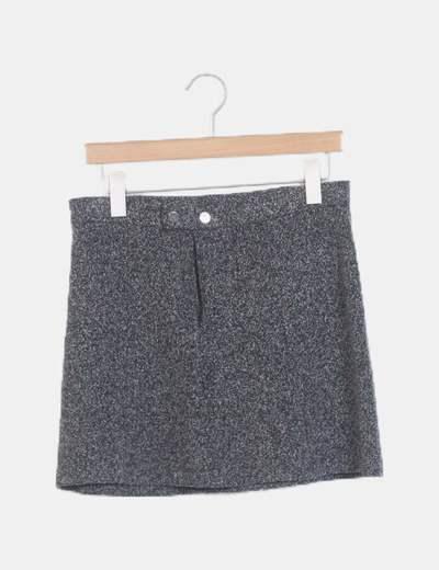 Falda mini texturizada negra jaspeada