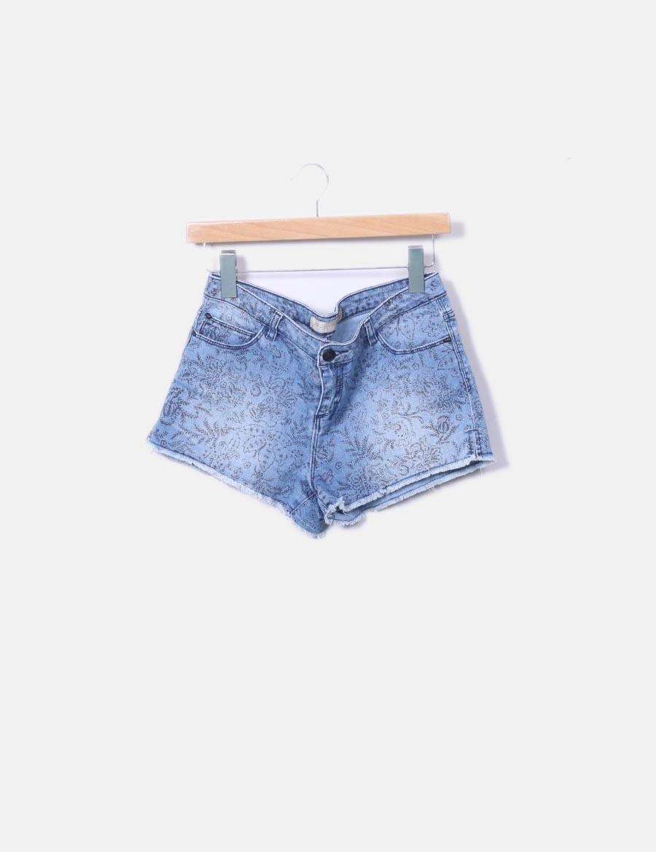 mujer denim Lefties estampado Pantalones Short desflecado baratos wqYpntd  ... 49f3d09bdc62