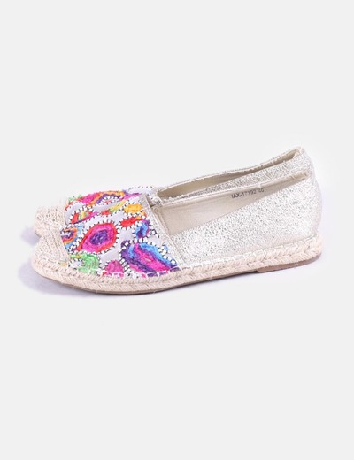 Gold glitter espadrilles with floral embroidery Show