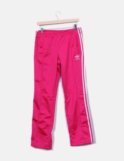 Pantalon fuchsia rayé blanc Adidas