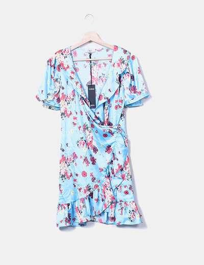 Vestido cruzado floral satinado