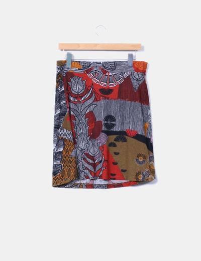 Falda midi estampada de punto