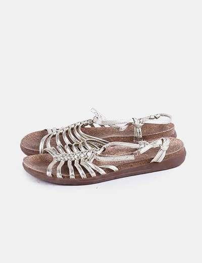 Sandalia corcho con tiras doradas DKNY