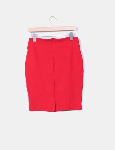 Falda midi roja ajustada