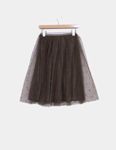 285d5ba6c1 Zara Falda tul verde bordado (descuento 83%) - Micolet