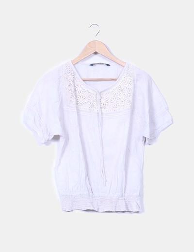 Blusa gris  con crochet Zara