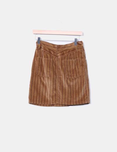Mini falda de rayas doble botonadura