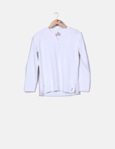 Suéter escote pico blanco  Blanc du Nil