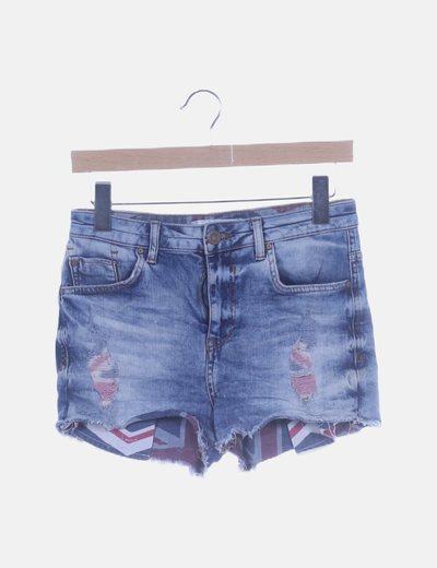 Short denim ripped high waist