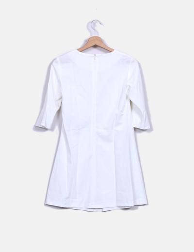 Vestido midi blanco manga francesa