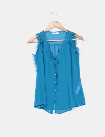 Blusa azul petroleo Lefties