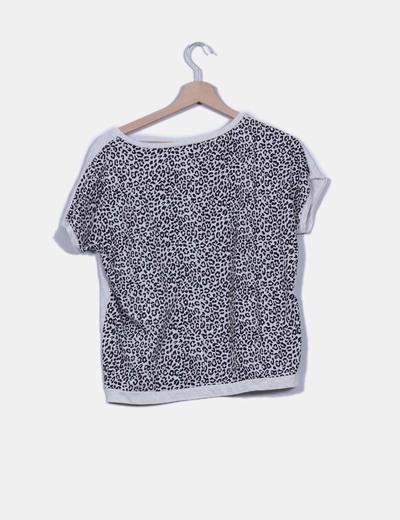Camiseta manga corta beige doble estampado