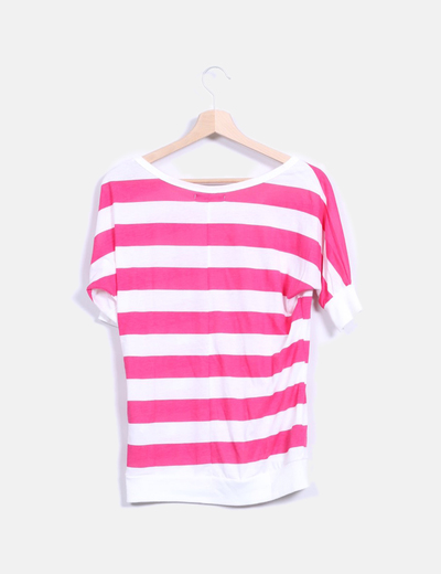 Camsieta a rayas rosa y blanca