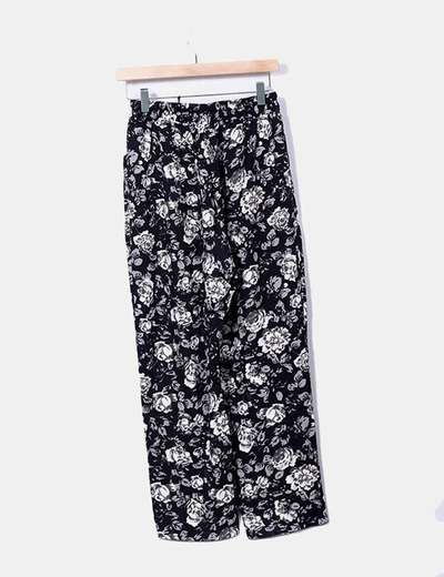 Pantalon negro floral