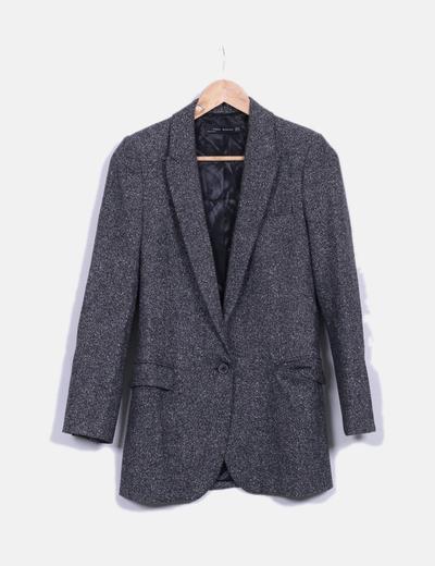 Blazer gris jaspeada de lana Zara