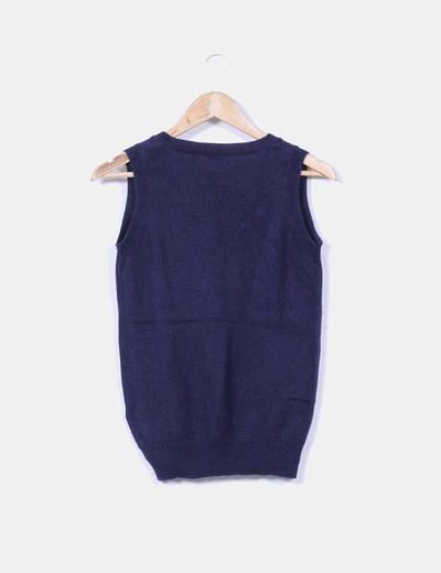 Chaleco tricot azul marino con rombos