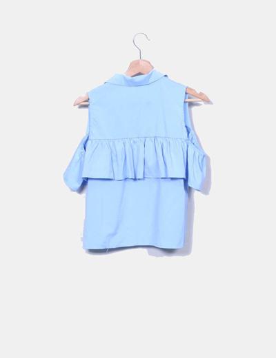 Camisa azul volante