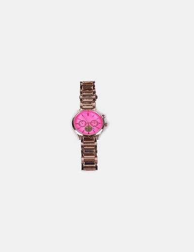 Reloj dorado con esfera rosa