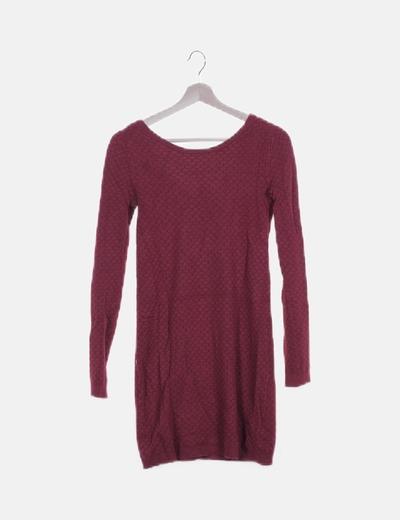 Vestido tricot burdeos