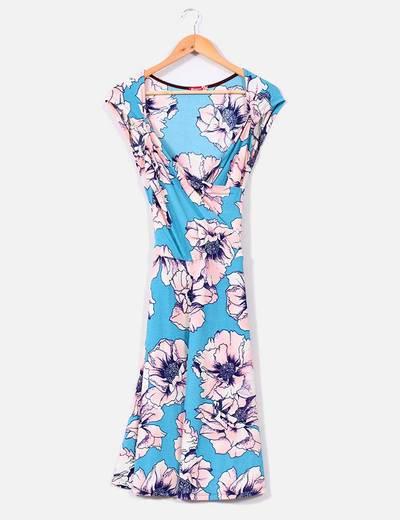 Vestido estampado floral azul y rosa NoName