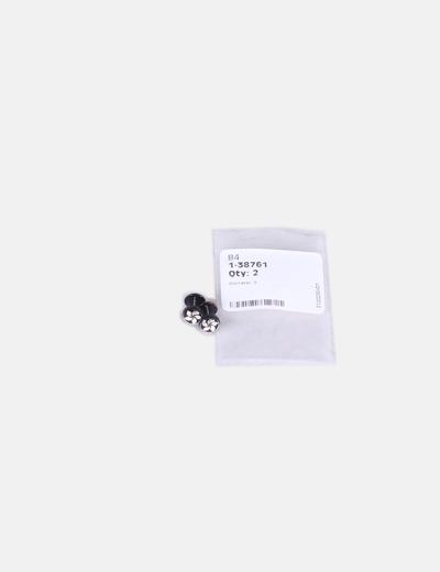 2 Piercings negros print flor (Fake piercings)