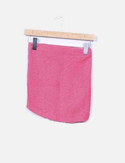 Mini falda elástica fucsia texturizada Bershka