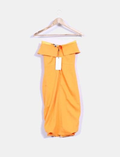 Vestido naranja ajustado sin mangas
