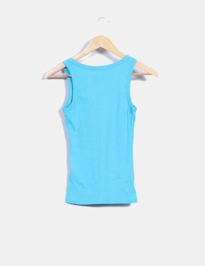Camiseta azul basica cuello en pico