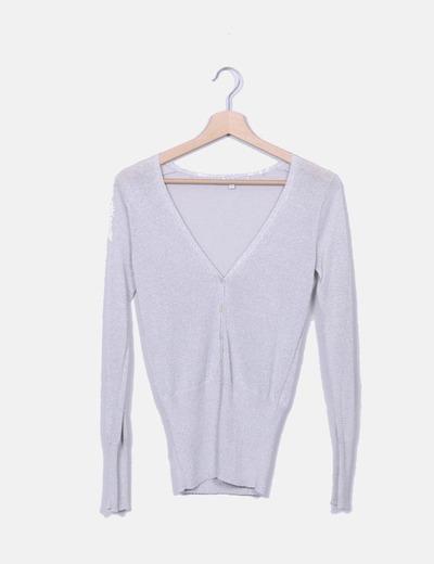 Bershka Veste grise paillettes tricot (réduction 83%) - Micolet e2c1eddb409