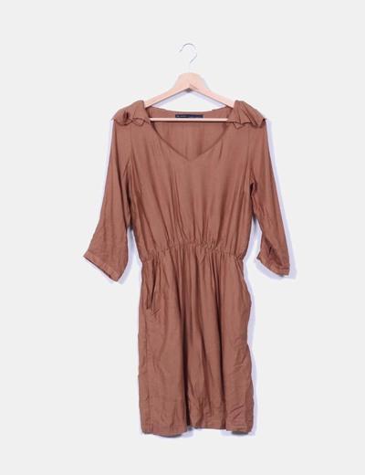Vestido marrón tacto suave Zara