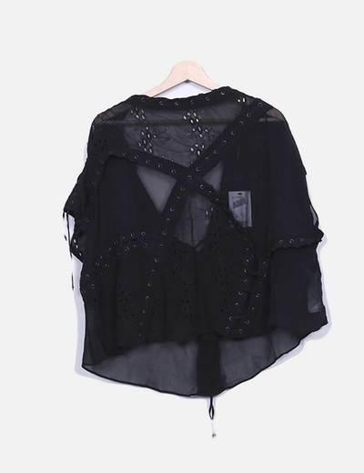 Blusa negra de seda Suiteblanco
