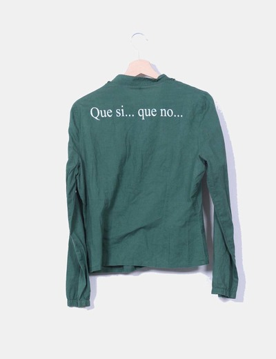 Camisa verde print moscas