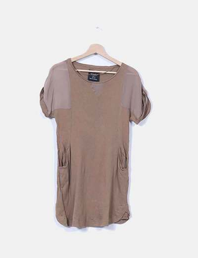 Vestido marrón combinado manga corta Zara